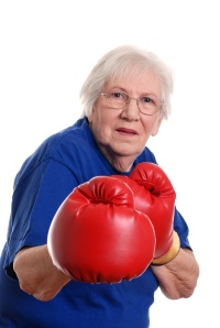 Senior woman boxing